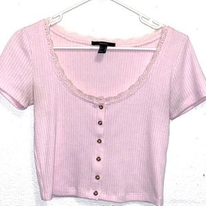 F21 Pink Lace Crop Top